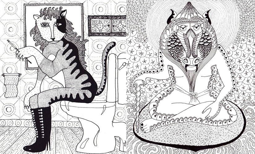 Pussy and Mandrin. Illustrations by Nitin Mani