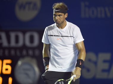Rafael Nadal during his match against Sam Querrey on Saturday. AFP