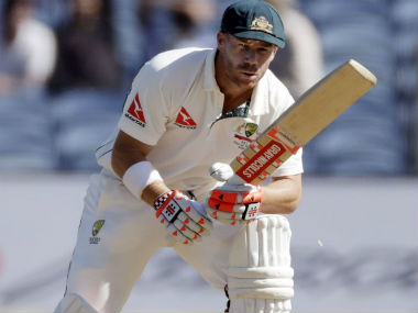 David Warner bats during Day 1 of the first Test between India and Australia in Pune. AP