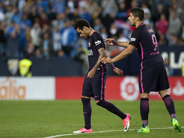 Barcelona's Neymar received a red card during their 2-0 loss at Malaga. AFP