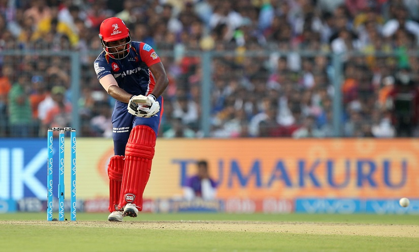 Shreyas Iyer of Delhi Daredevils during match 32 of the Vivo 2017 Indian Premier League between the Kolkata Knight Riders and the Delhi Daredevils held at the Eden Gardens Stadium in Kolkata, India on the 28th April 2017Photo by Prashant Bhoot - Sportzpics - IPL