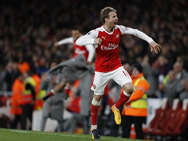 "Britain Soccer Football - Arsenal v Leicester City - Premier League - Emirates Stadium - 26/4/17 Arsenal's Nacho Monreal celebrates after Leicester City's Robert Huth scores an own goal and the first goal for Arsenal Reuters / Stefan Wermuth Livepic EDITORIAL USE ONLY. No use with unauthorized audio, video, data, fixture lists, club/league logos or ""live"" services. Online in-match use limited to 45 images, no video emulation. No use in betting, games or single club/league/player publications. Please contact your account representative for further details. - RTS142OU"