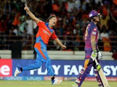 Andrew Tye recorded figures of 5/17 on IPL debut. PTI