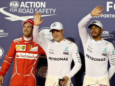 Top three qualifiers Valtteri Bottas, Lewis Hamilton and Sebastian Vettel after qualifying. Getty