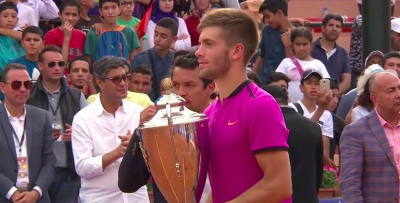 Borna Coric of Croatia claimed his first tour title on Sunday after saving five match points. Image courtesy: Twitter/@borna_coric