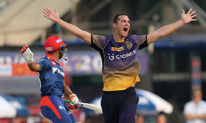 Nathan Coulter-Nile of the Kolkata Knight Riders celebrates the wicket of Rishabh Pant of the Delhi Daredevils during match 32 of the Vivo 2017 Indian Premier League between the Kolkata Knight Riders and the Delhi Daredevils held at the Eden Gardens Stadium in Kolkata, India on the 28th April 2017 Photo by Ron Gaunt - Sportzpics - IPL