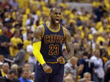 Cleveland Cavaliers' LeBron James reacts after a basket against the Indiana Pacers. AP