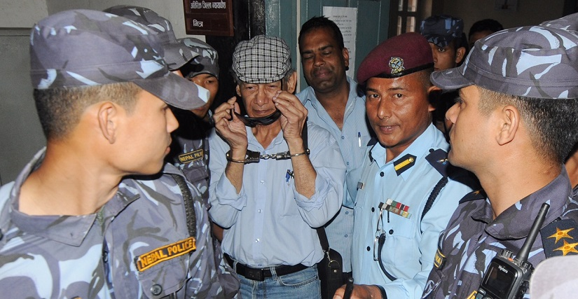 Charles Sobhraj being taken to the Bhaktapur district court for a hearing in May 2014. French national Sobhraj was arrested in 2003 from a casino in Kathmandu. Photo courtesy: Keshab Thoker