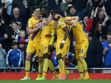 Christian Benteke (2nd L) of Crystal Palace celebrates his side's second goal. Getty