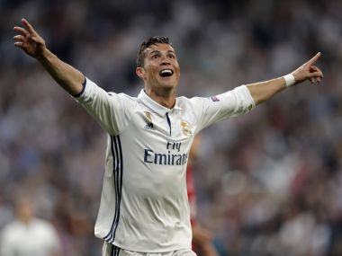 Cristiano Ronaldo became the first ever footballer to score 100 goals in Champions League history. AP
