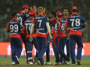 Shahbaz Nadeem of the Delhi Daredevils is congratulated by teammates for taking a wicket. Sportzpics