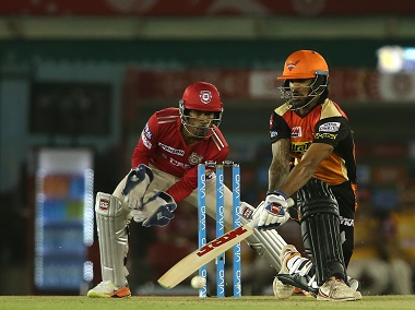 Sunrisers Hyderabad's Shikhar Dhawan paddles a delivery on Friday. Sportzpics/IPL