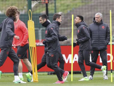 Manchester United manager Jose Mourinho, right, during training ahead of their Europa League tie. AP