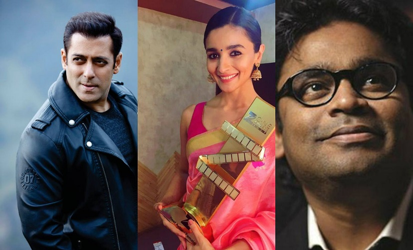 Salman Khan, Alia Bhatt and AR Rahman. Images from Facebook and News 18