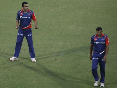 Zaheer Khan and Mohammed Shami of the Delhi Daredevils against Kolkata Knight Riders. Sportzpics