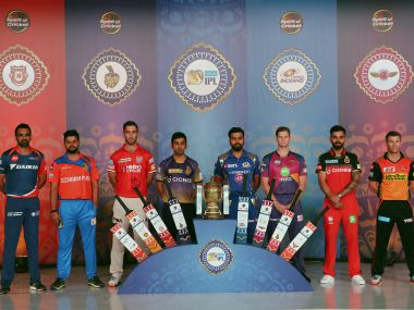 The IPL pose with the trophy before the 10th edition of the tournament. Sportzpics