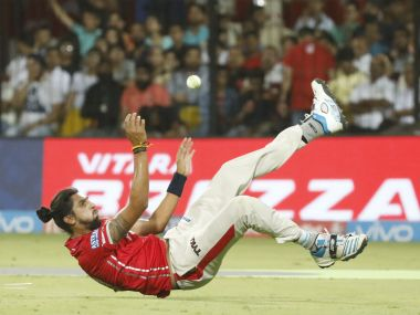 Ishant Sharma of Kings XI Punjab falls during the match against Mumbai Indians. Sportzpics/ IPL