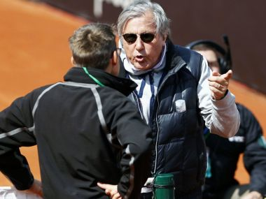 Ilie Nastase in a heated discussion with the match officials. Image courtesy: Twitter