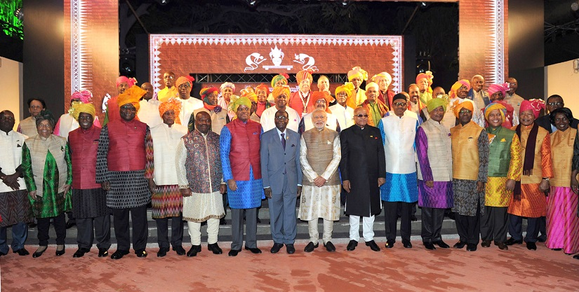 Prime Minister Narendra Modi with the African leaders during the India Africa Forum Summit, in New Delhi on October 28, 2015. Image Courtesy: Ministry of External Affairs