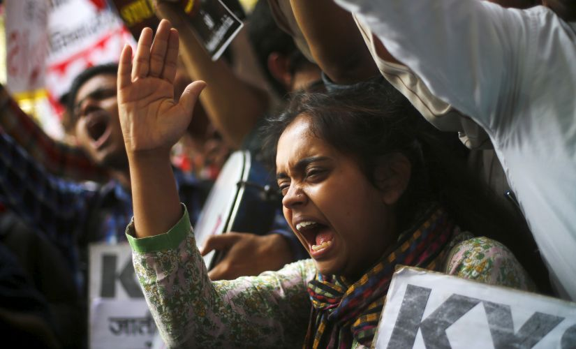 A file photo of a student at JNU protesting during the Kanhaiyya Kumar row, Reuters