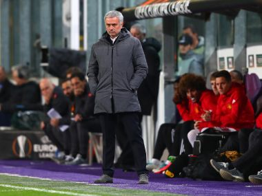 Jose Mourinho, manager of Manchester United looks on during the match against Anderlecht. Getty