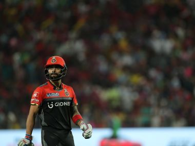 Royal Challengers Bangalore captain Virat Kohli departs during the match against Rising Pune Supergiant. Sportzpics/IPL