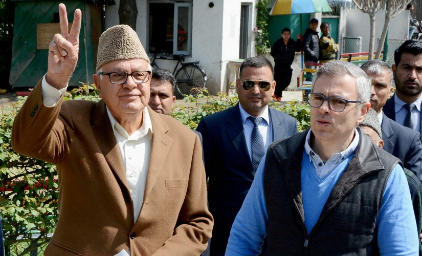 File image of Farooq Abdullah and Omar Abdullah. PTI