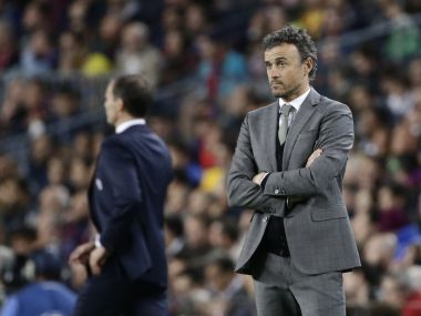 Barcelona's coach Luis Enrique and Juventus coach Massimiliano Allegri during the Champions League match. AP