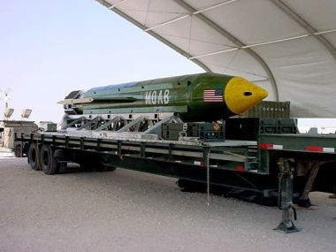 This undated photo provided by Eglin Air Force Base shows a GBU-43B, or massive ordnance air blast weapon, the US military's largest non-nuclear bomb, which contains 11 tons of explosives. AP