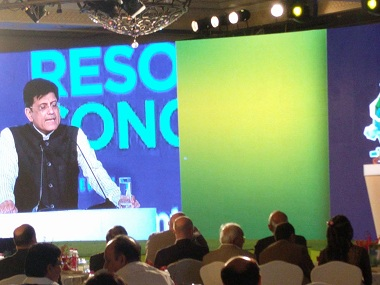 Piyush Goyal addressing the GNRC to promote sustainable development in India. Firstpost/Debobrat Ghose