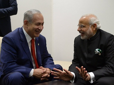 File photo of Modi and Netanyahu. Courtesy Twitter @MEAIndia
