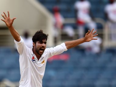 Pakistan's Mohammad Amir unsuccessfully appeals on day two of the first Test against West Indies. AFP