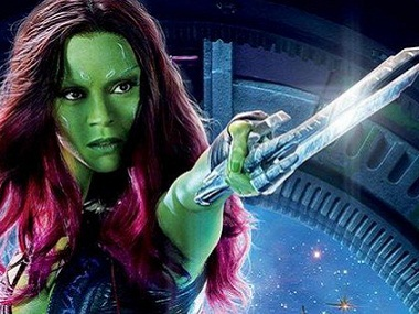 Zoe Saldana as Gamora. Image via Twitter.