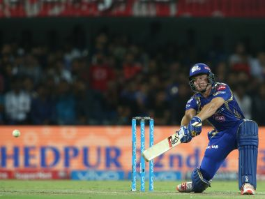 Jos Buttler of the Mumbai Indians square cuts a delivery during match 22 of the Vivo 2017 Indian Premier League between the Kings X1 Punjab and the Mumbai Indians held at the Holkar Cricket Stadium in Indore, India on the 20th April 2017 Photo by Shaun Roy - IPL - Sportzpics