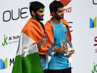 B Sai Praneeth (right) poses with Kidambi Srikanth after their men's singles final. AFP
