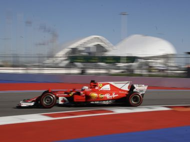 Ferrari driver Sebastian Vettel of steers his car during the second free practice session. AP