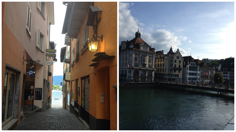 (l) Cobbled alleyway in Ascona leading to the lake; (R) Lucerne city centre