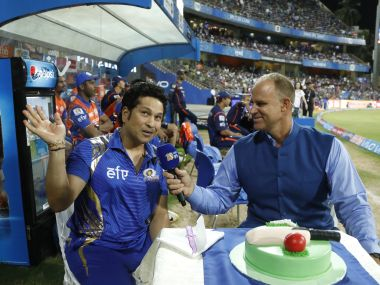 Sachin Tendulkar cuts a cake along with Matthew Hayden during the Mumbai Indians vs Rising Pune Supergiant match at the Wankhede Stadium. Sportzpics/ IPL