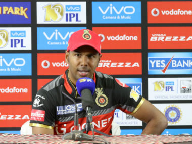 Samuel Badree addresses the media after the Mumbai Indians clash in Bengaluru. Sportspicz
