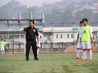 Thangboi Singto, Shillong Lajong's coach, during a training session. Image courtesy: AIFF media