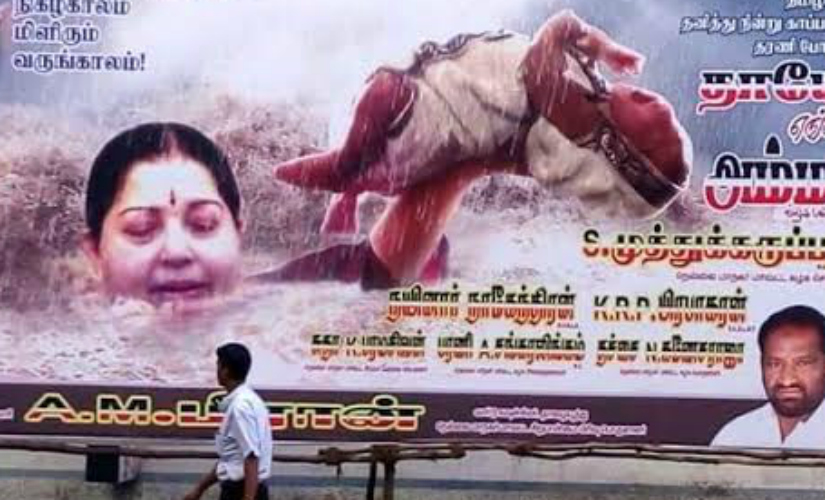 During the Chennai floods, Jayalalithaa portrayed as Sivagami from Bahubali.