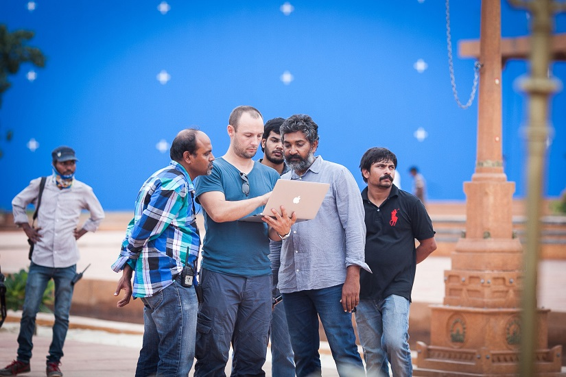 (L-R, in foreground) Srinivas Mohan, Pete Draper and SS Rajamouli
