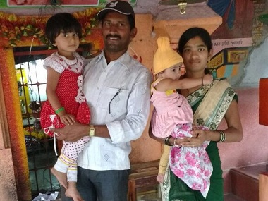 Swati Jamdade, the woman who died in Sangli, seen here with her husband and two daughters. File photo