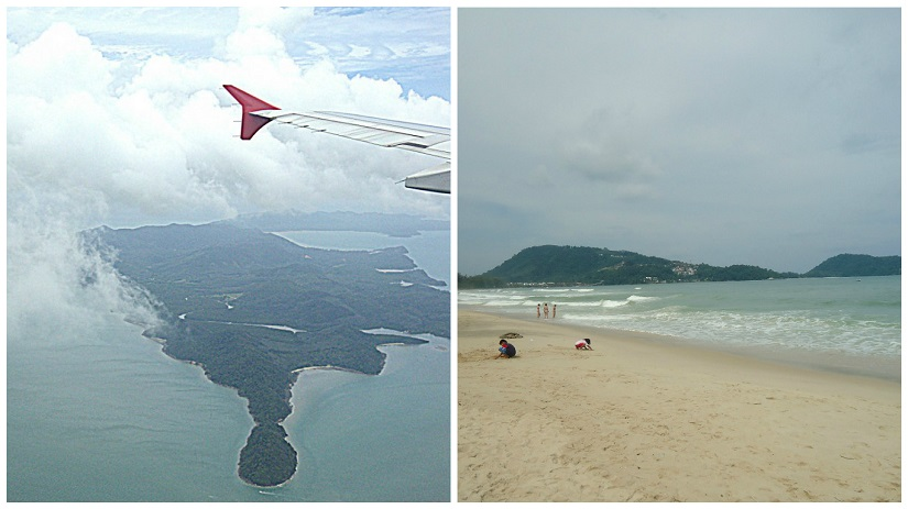 (L) View while landing in Phuket; (R) Patong beach in Phuket