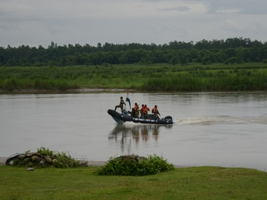 Indian Border Security Force (BSF) personnel use a speedboat to patrol along the Teesta River on the border with Bangladesh. AFP