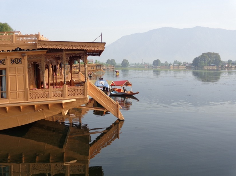 The traditional houseboats in Srinagar