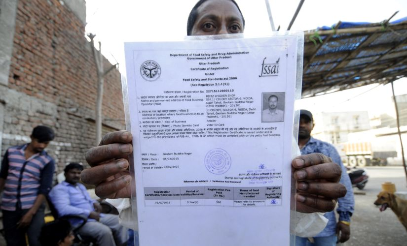 Riyaz Mohammad showing his license which is valid till 2020.