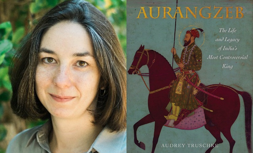Audrey Trushke and her book Aurangzeb. Images from Twitter