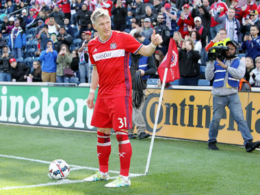 Bastian Schweinsteiger  in action during his MLS debut. Getty Images