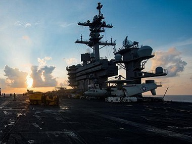 The aircraft carrier USS Carl Vinson (CVN 70) transits the South China Sea, April 8, 2017.  U.S. Navy photo by Mass Communication Specialist 3rd Class Matt Brown/Handout via Reuters